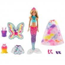 BARBIE Кукла с три костюма DREAMTOPIA RAINBOW COVE FJD08