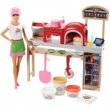 "BARBIE Комплект за игра с кукла ""ПИЦА ШЕФ"" I CAN BE COOKING AND BAKING FHR09"